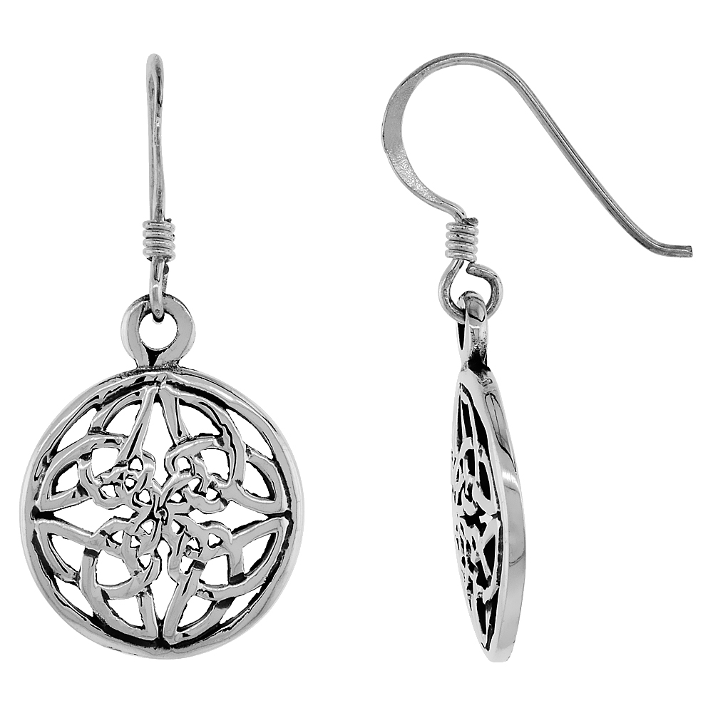 Sterling Silver Celtic Knot Earrings, 3/4 inch long