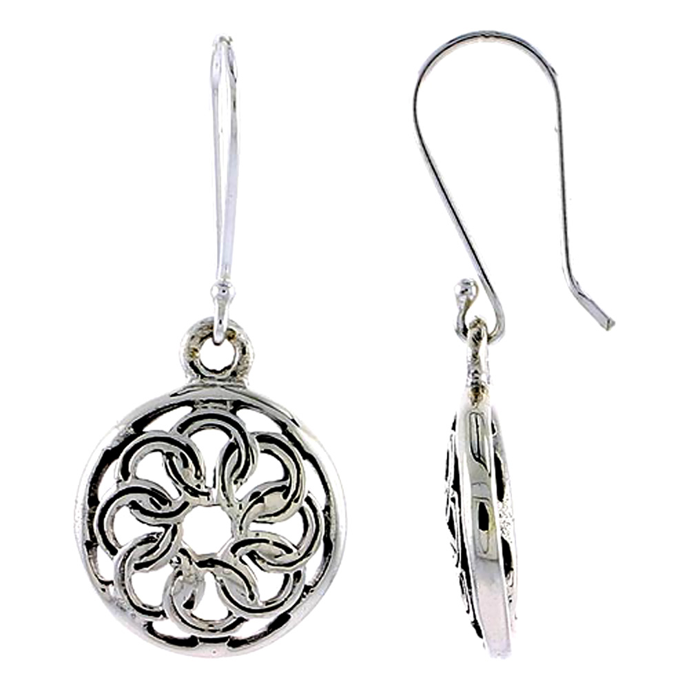 Sterling Silver Circular Knot Celtic Earrings, 5/8 inch long