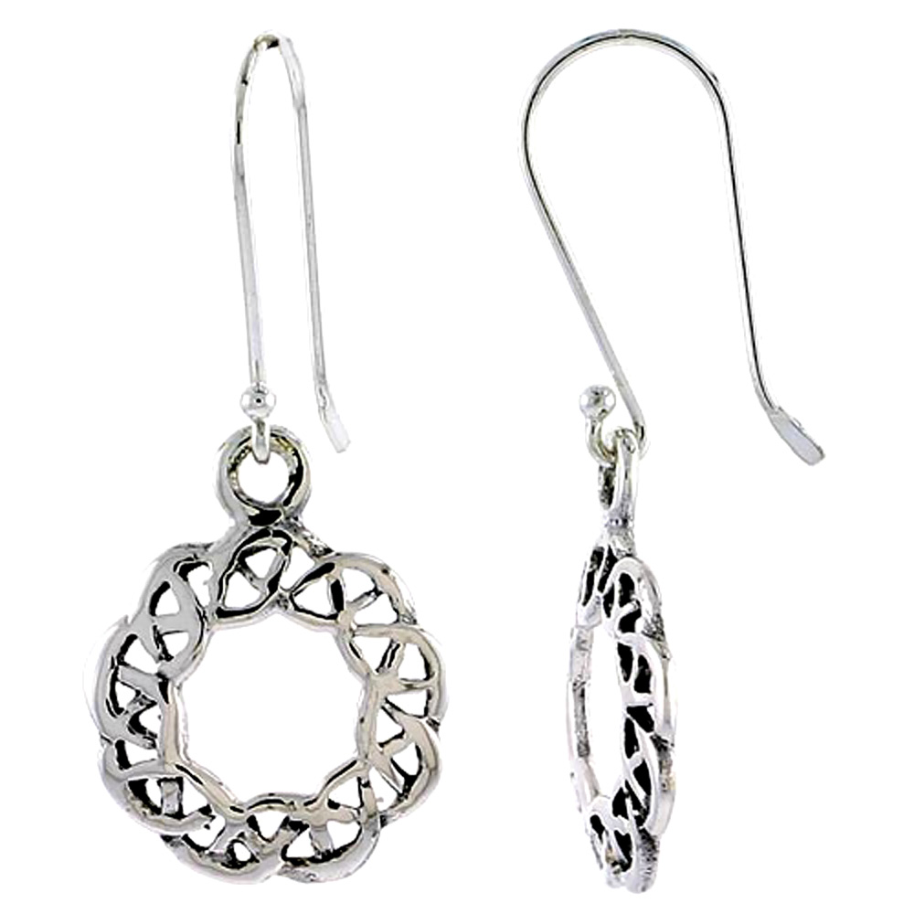 Sterling Silver Celtic Circular Knot Earrings, 5/8 inch long
