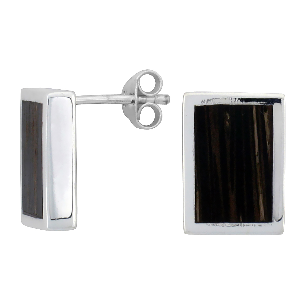 "Sterling Silver Rectangular Post Earrings, w/ Ancient Wood Inlay, 1/2"" (13 mm) tall"