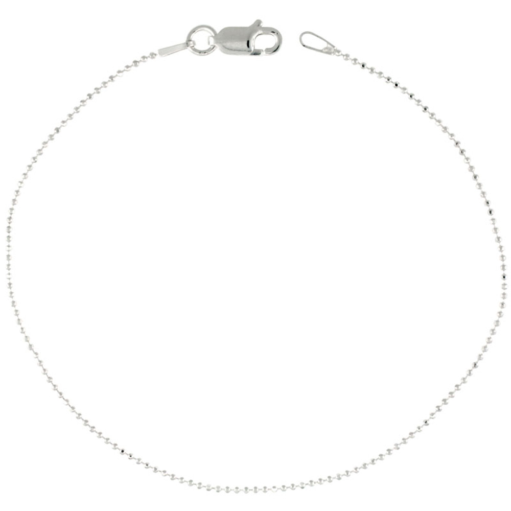 Sterling Silver Faceted Pallini Bead Ball Chain Necklaces & Bracelets Thin 1mm Nickel Free, 16 - 18 inch