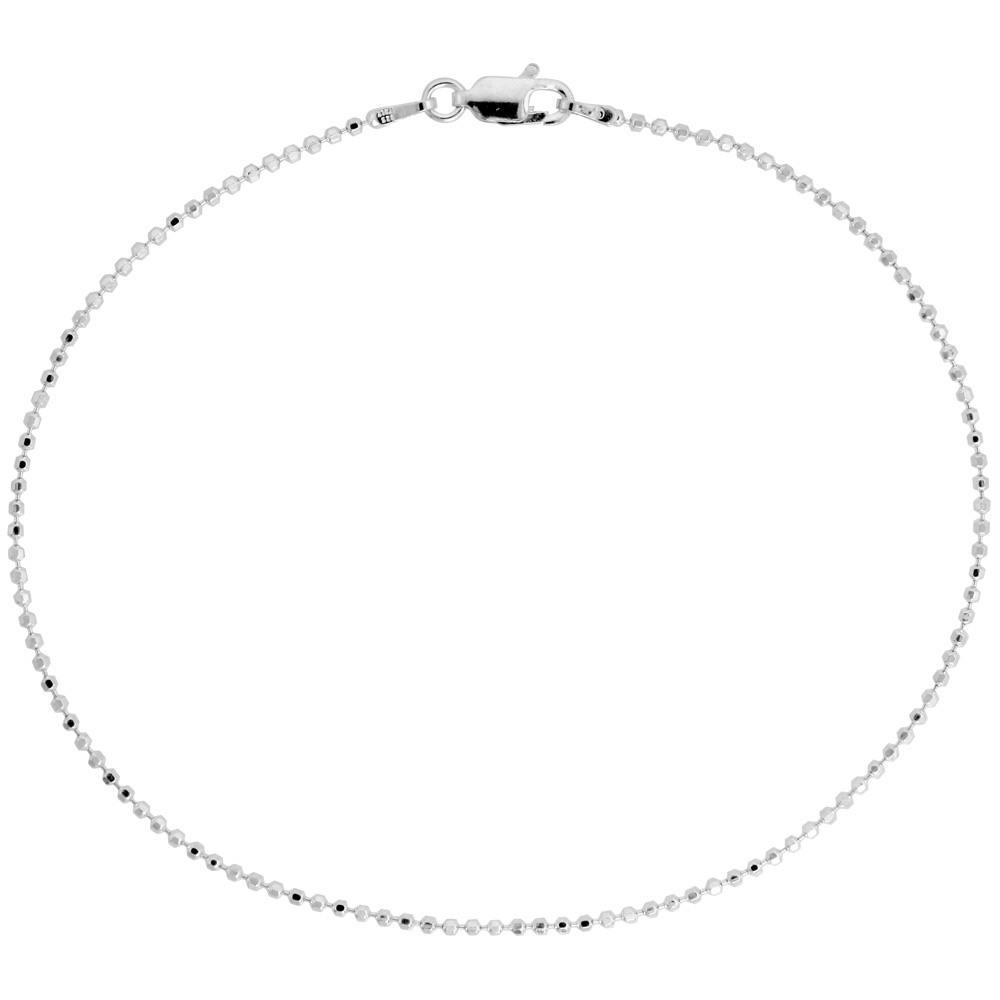 Sterling Silver Faceted Pallini Bead Ball Chain Necklaces & Bracelets 1.5mm Nickel Free Italy, 7-30 inch