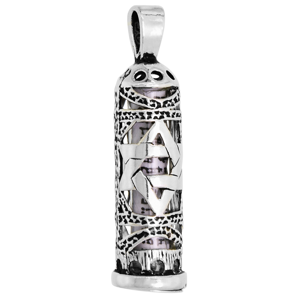 Sterling Silver Mezuzah Necklace Star of David Cut Outs 1 inch with 1mm Box Chain 16 - 30 inch