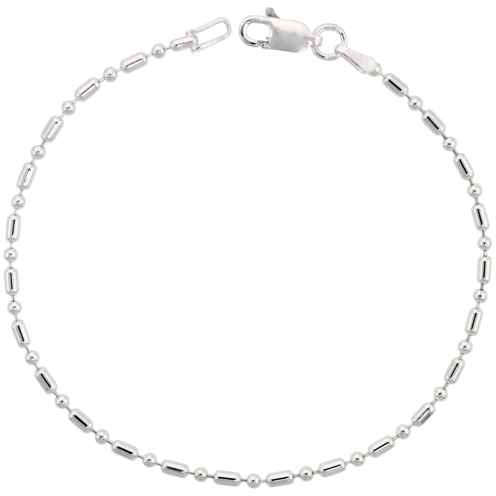 Sterling Silver Dot Dash Pallini Bead Ball Chain 1.8mm Nickel free Italy, sizes 7 - 30 inch