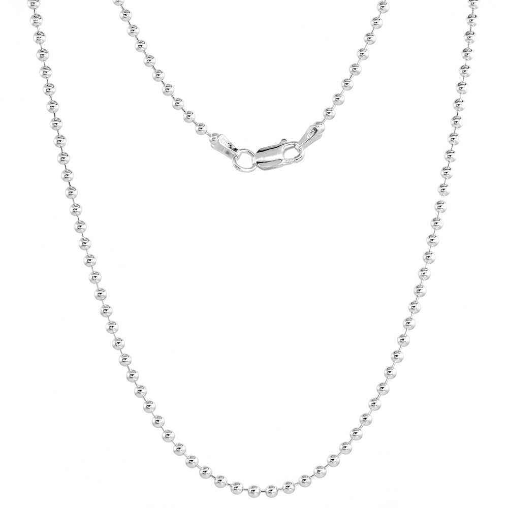 Sterling Silver Pallini Bead Ball Chain Necklaces & Bracelets 2.2mm Nickel Free Italy, sizes 7 - 36 inch