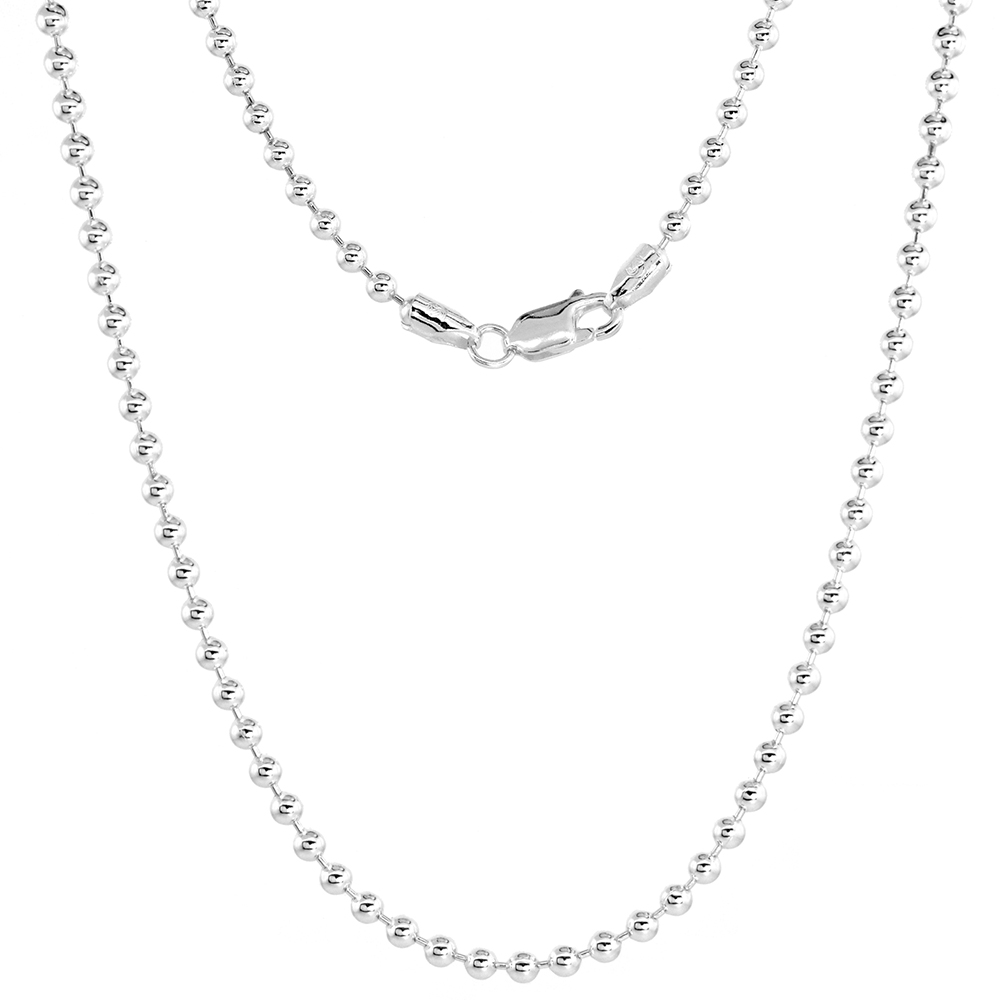 Sterling Silver Pallini Bead Ball Chain Necklaces & Bracelets 3mm Thick Nickel Free Italy, 7-30 inch