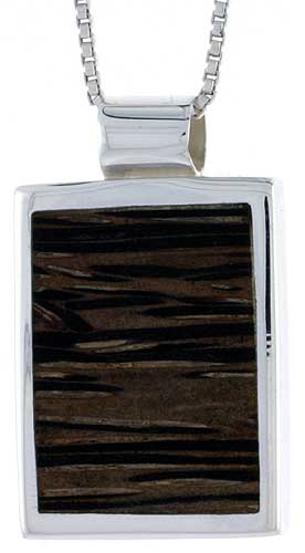 "Sterling Silver Square-shaped Slider Pendant, w/ Ancient Wood Inlay, 7/8"" (22 mm) tall, w/ 18"" Thin Snake Chain"