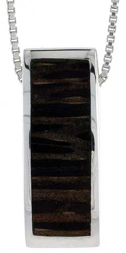 """Sterling Silver Rectangular Slider Pendant, w/ Ancient Wood Inlay, 7/8"""" (22 mm) tall, w/ 18"""" Thin Snake Chain"""