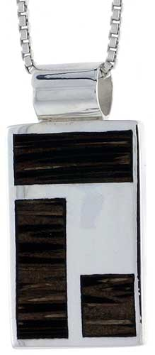 "Sterling Silver Rectangular Slider Pendant, w/ Ancient Wood Inlay, 3/4"" (19 mm) tall, w/ 18"" Thin Snake Chain"