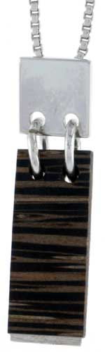 "Sterling Silver Bar Slider Pendant, w/ Ancient Wood Inlay, 1 1/16"" (27 mm) tall, w/ 18"" Thin Snake Chain"