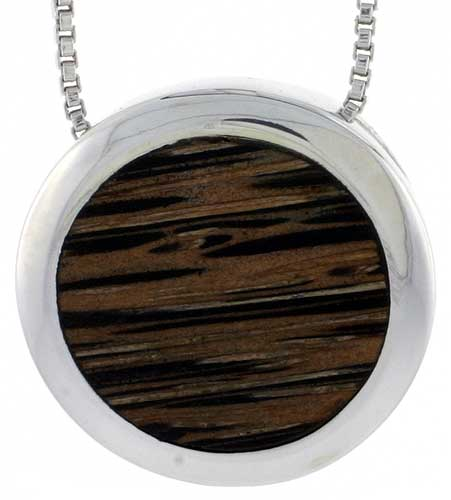 "Sterling Silver Round Slider Pendant, w/ Ancient Wood Inlay, 13/16"" (20 mm), w/ 18"" Thin Snake Chain"