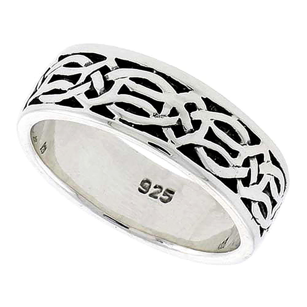 Sterling Silver Celtic Knot Ring Wedding Band Thumb Ring 5/16 inch wide, sizes 9-14