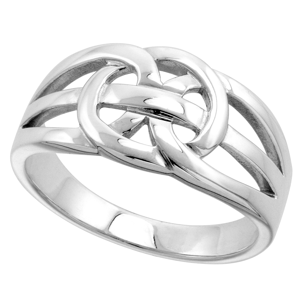 Sterling Silver Celtic Love Knot Ring 5/16 inch wide, sizes 9-14