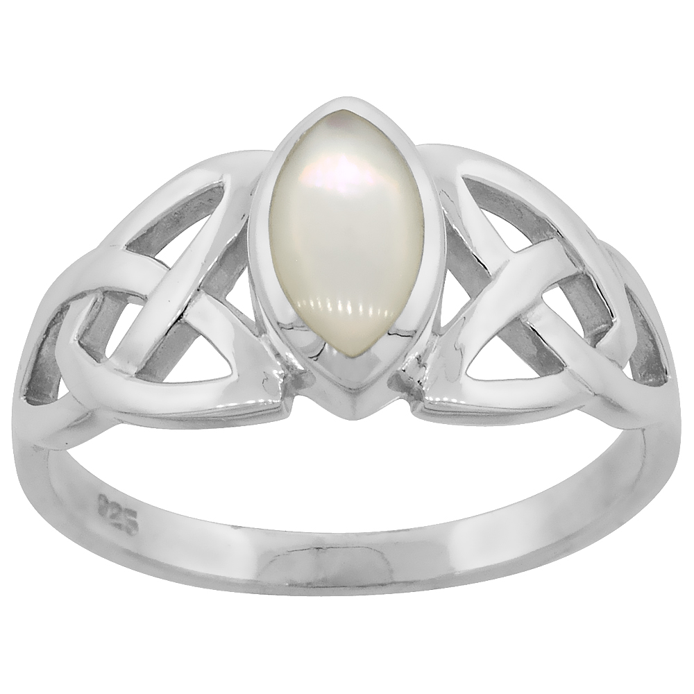 Sterling Silver Celtic Knot Trinity Triquetra Ring 1/2 inch wide, sizes 6-14