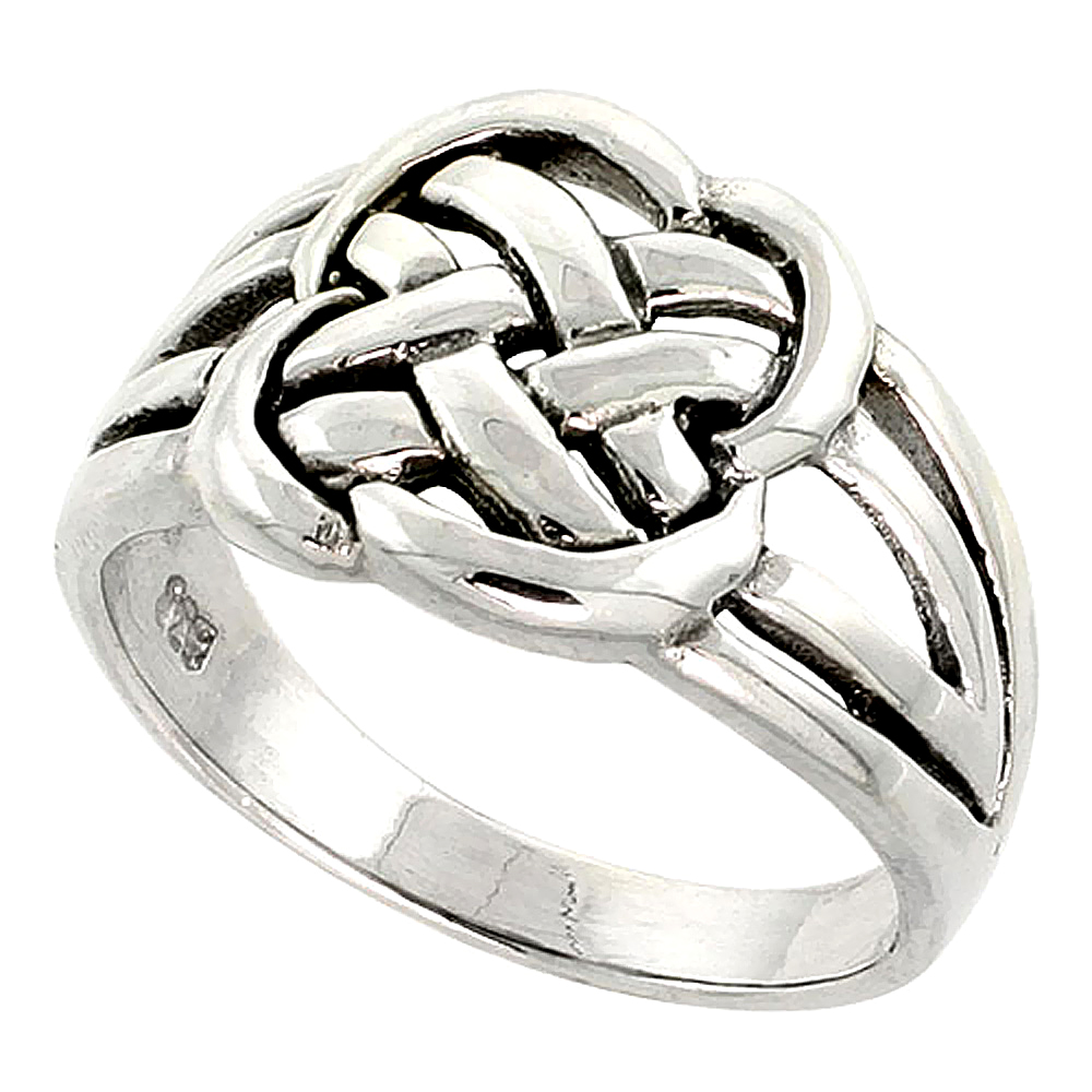 Sterling Silver Celtic Knot Ring 7/16 inch wide, sizes 9-14