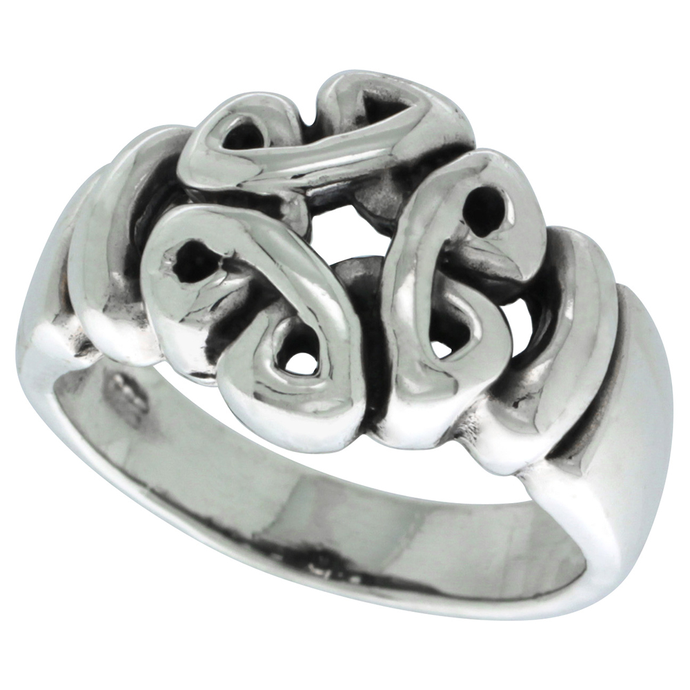 Sterling Silver Celtic Knot Ring 7/16 inch wide, sizes 5 - 13