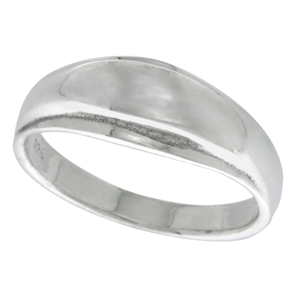 Sterling Silver Domed Ring 3/8 inch wide, sizes 5 - 13