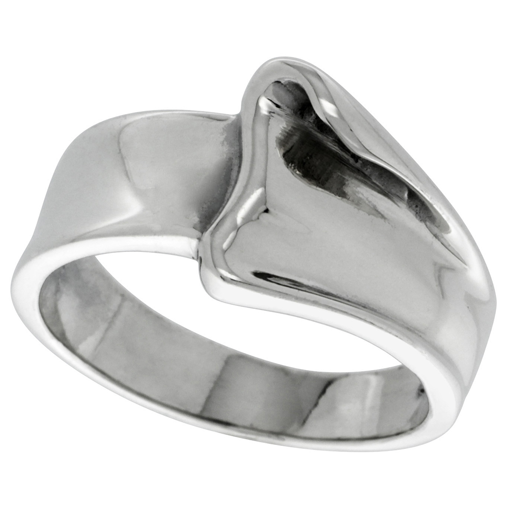 Sterling Silver Freeform Dome Ring 1/2 inch wide, sizes 5 - 13