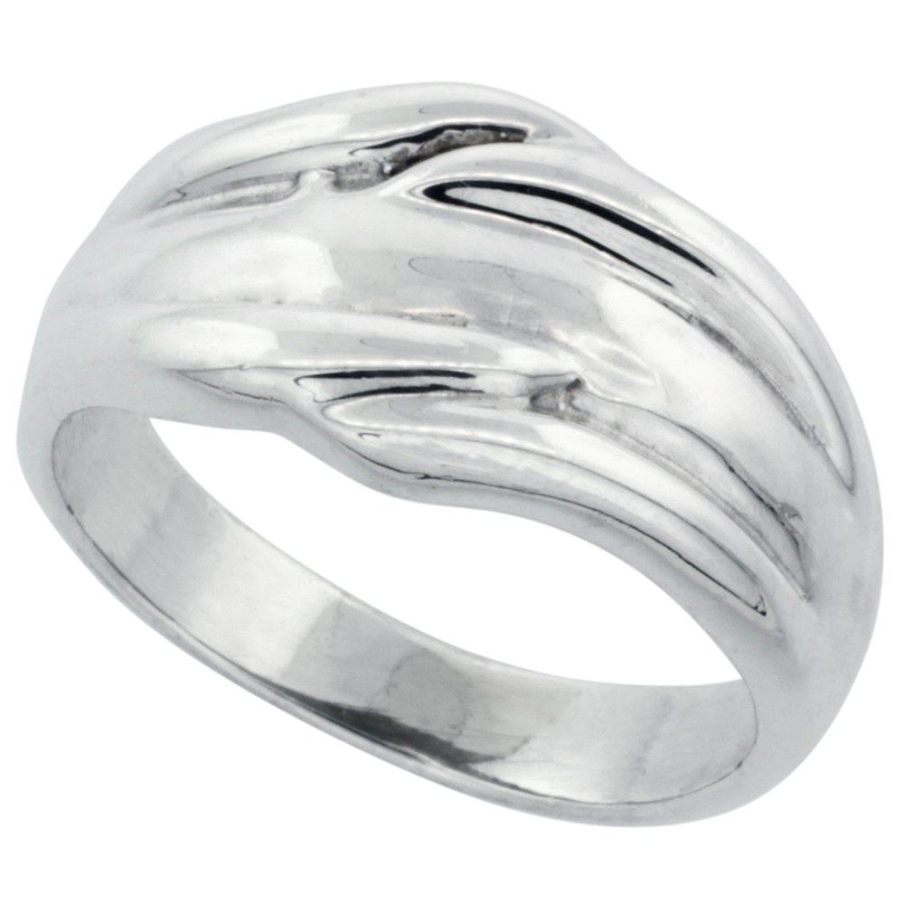 Sterling Silver Freeform Dome Ring 1/2 inch wide, sizes 5 - 14