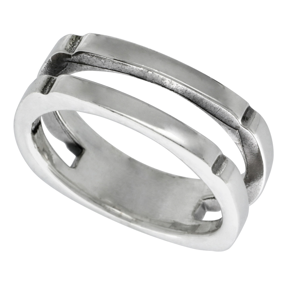 Sterling Silver Double Stack Ring 3/8 inch wide, sizes 6 - 12
