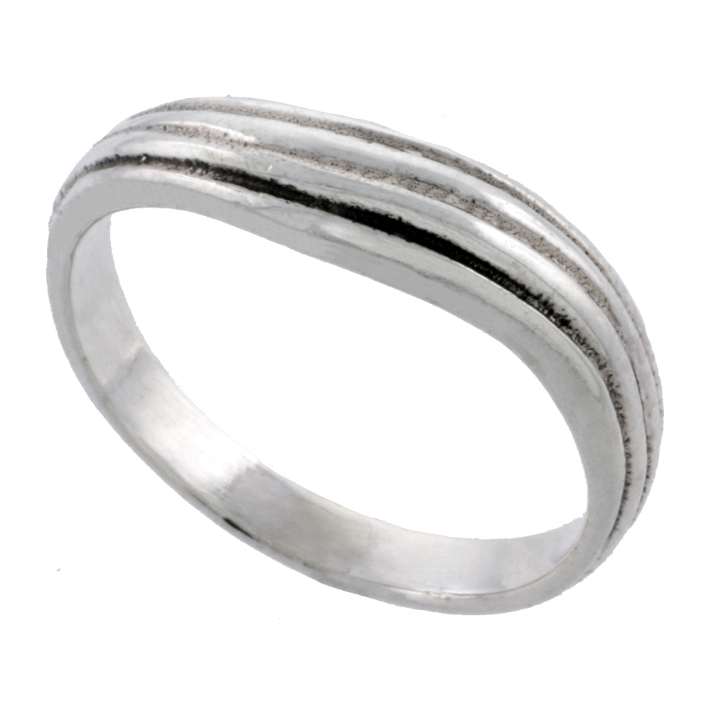 Sterling Silver Wavy Ring 3/16 inch wide, sizes 4 - 12