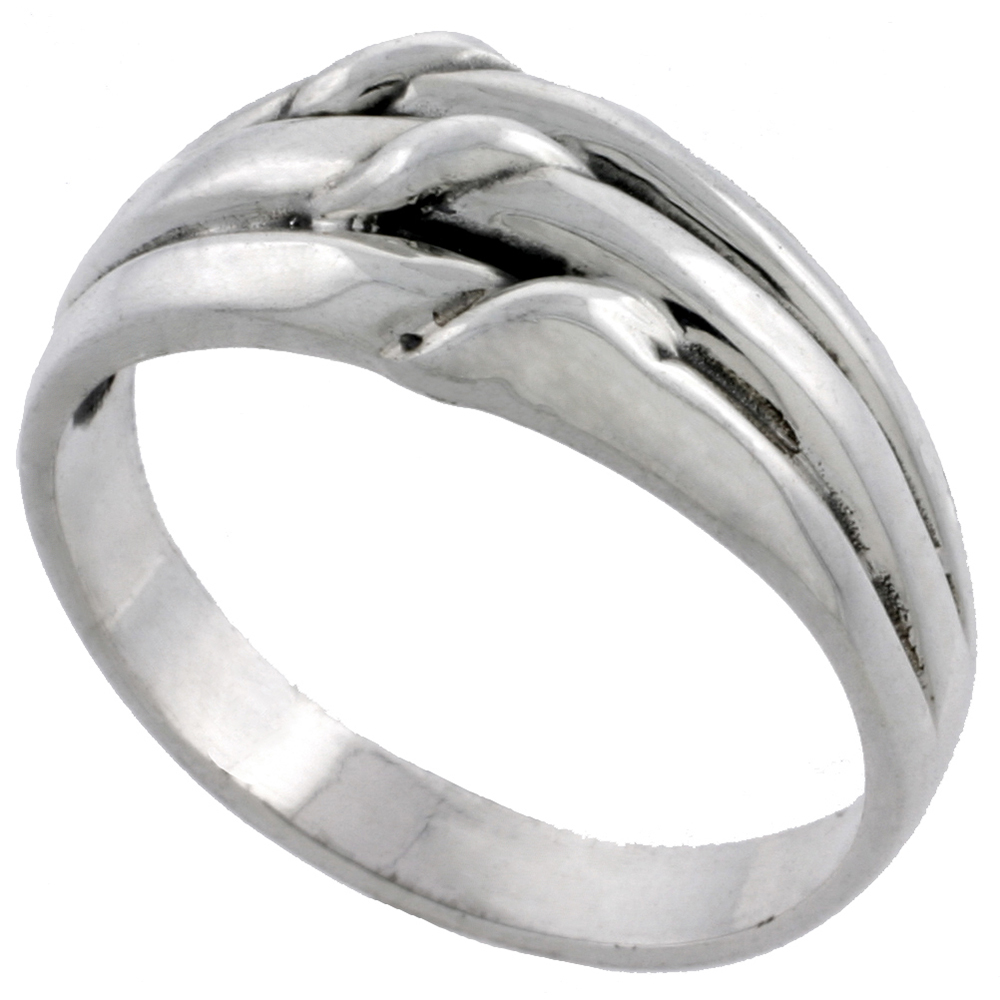 Sterling Silver Grooved Knot Ring 3/8 inch wide, sizes 5 - 13