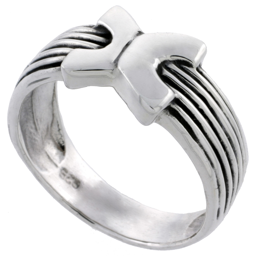 Sterling Silver Striped Ring 3/8 inch wide, sizes 5 - 14