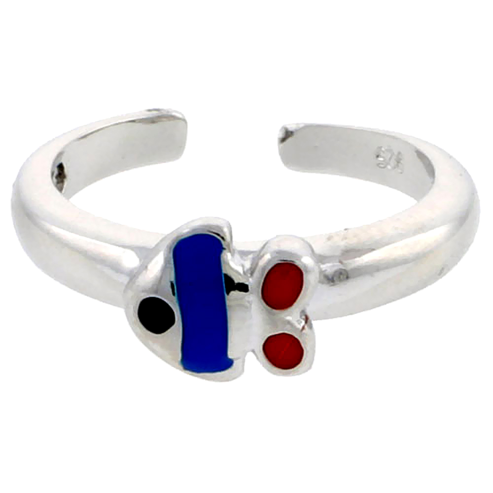 Sterling Silver Toe Ring Baby Fish Ring Adjustable Blue & Red enameled, 1/4 inch wide