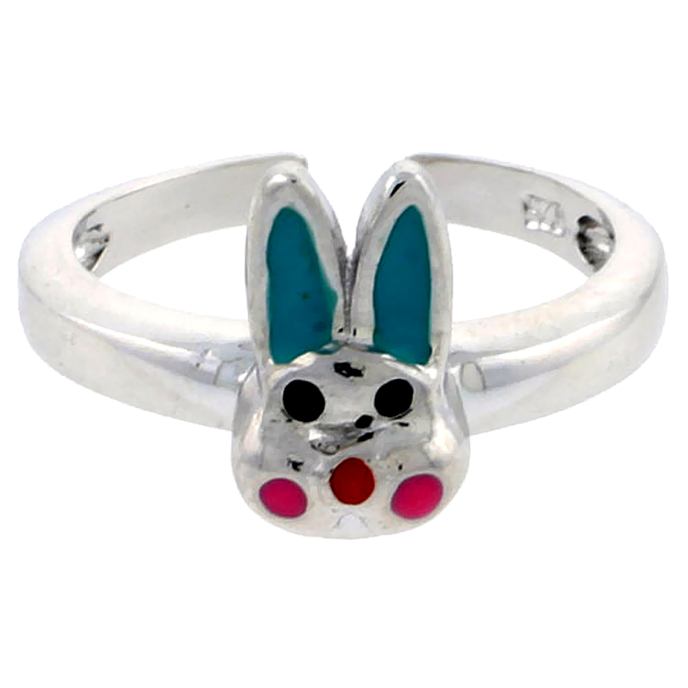 Sterling Silver Toe Ring Baby Rabbit Ring Adjustable Aqua Green & Pink enameled, 3/8 inch wide