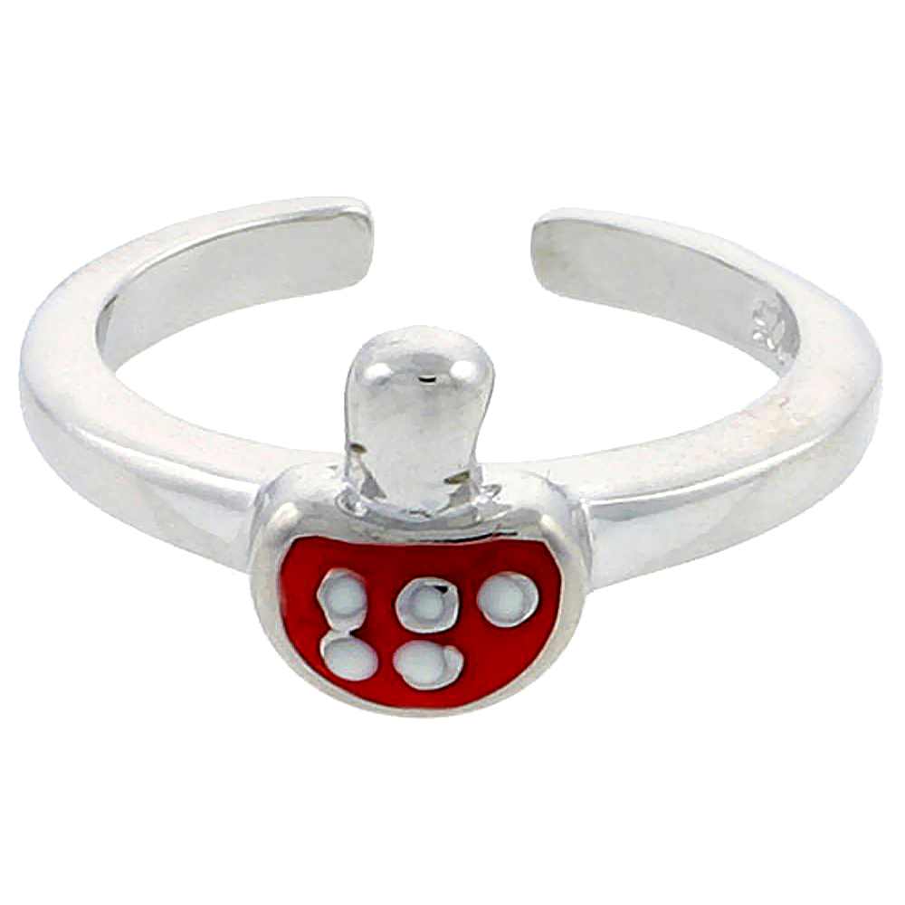 Sterling Silver Toe Ring Baby Mushroom Ring Adjustable Red enameled, 5/16 inch wide