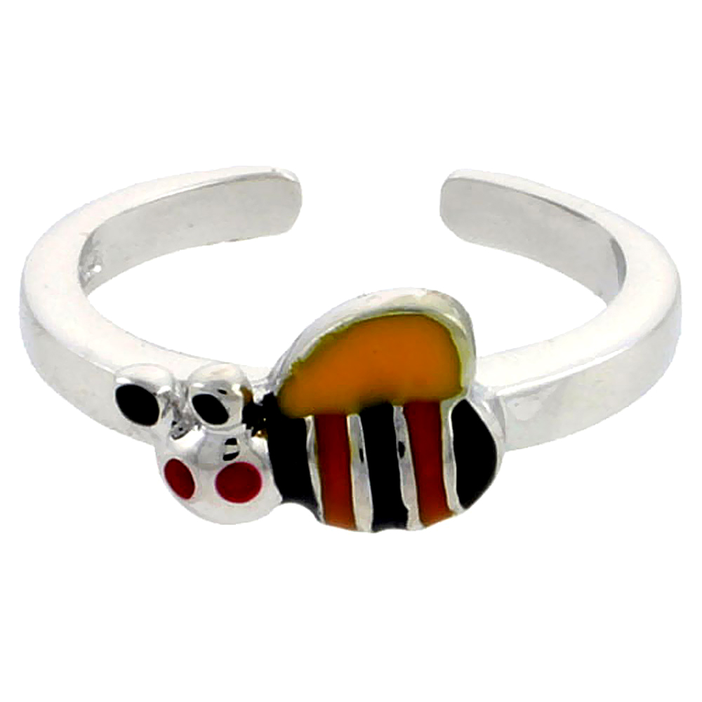 Sterling Silver Toe Ring Baby Bumble Bee Ring Adjustable Yellow, Black & Orange enameled, 1/4 inch wide