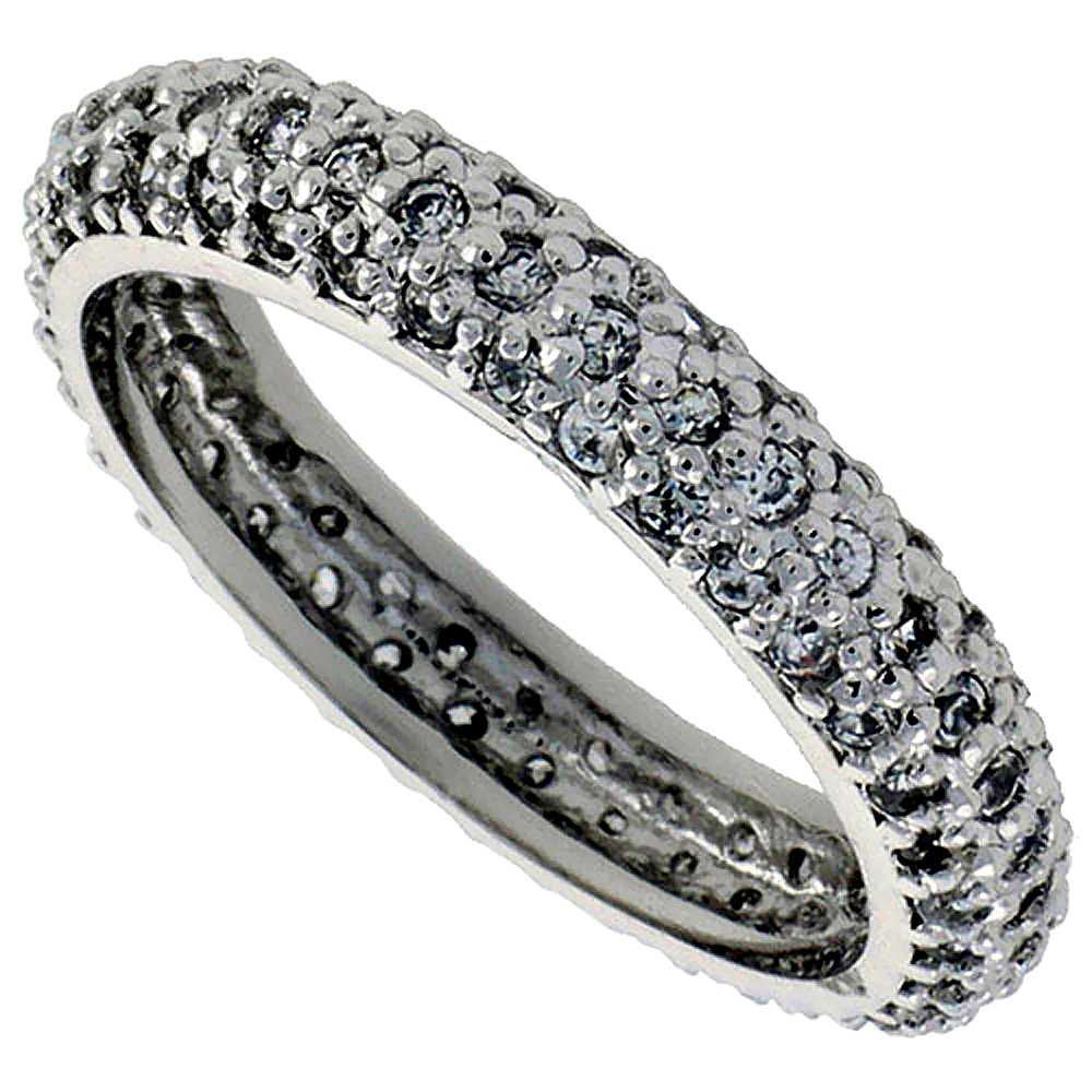 Sterling Silver Cubic Zirconia Eternity Ring Micro Pave Domed 1/8 inch wide, sizes 6 - 9