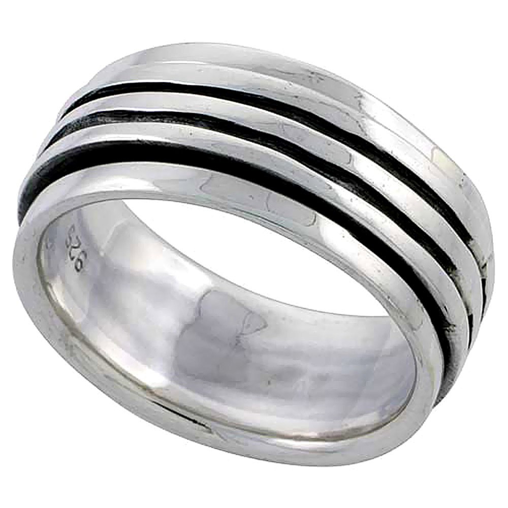 Sterling Silver Stripe Design Spinner Ring 3/8 inch wide