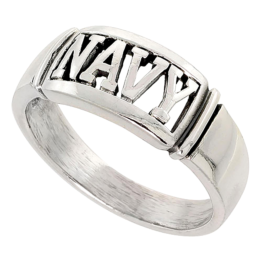Sterling Silver US NAVY Ring 3/8 inch wide, sizes 8 - 14