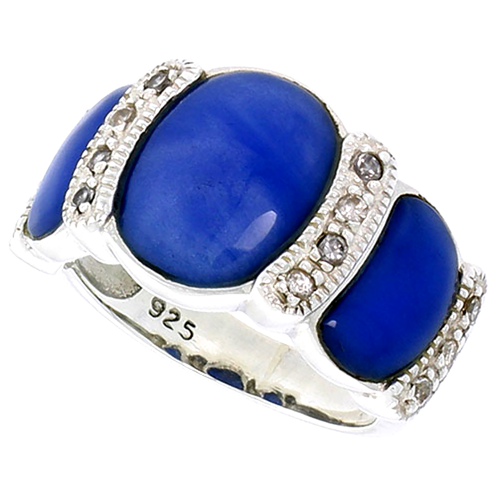"Sterling Silver Oxidized Ring, w/ 12 x 9 mm & Two 9 x 5 mm Oval-shaped Blue Resin, & Tiny CZ's, 1/2"" (13 mm) wide"