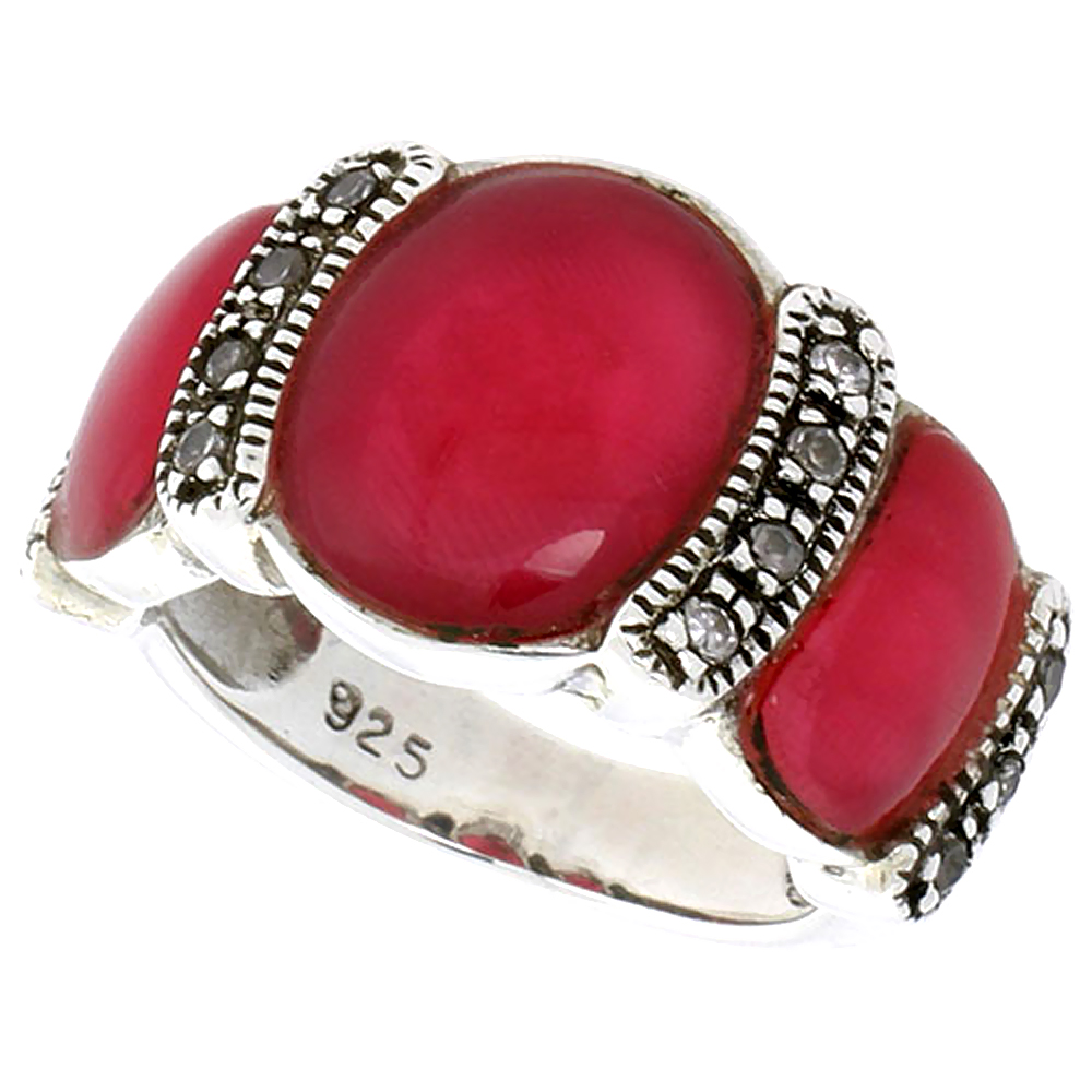"Sterling Silver Oxidized Ring, w/ 12 x 9 mm & Two 9 x 5 mm Oval-shaped Red Resin, & Tiny CZ's, 1/2"" (13 mm) wide"