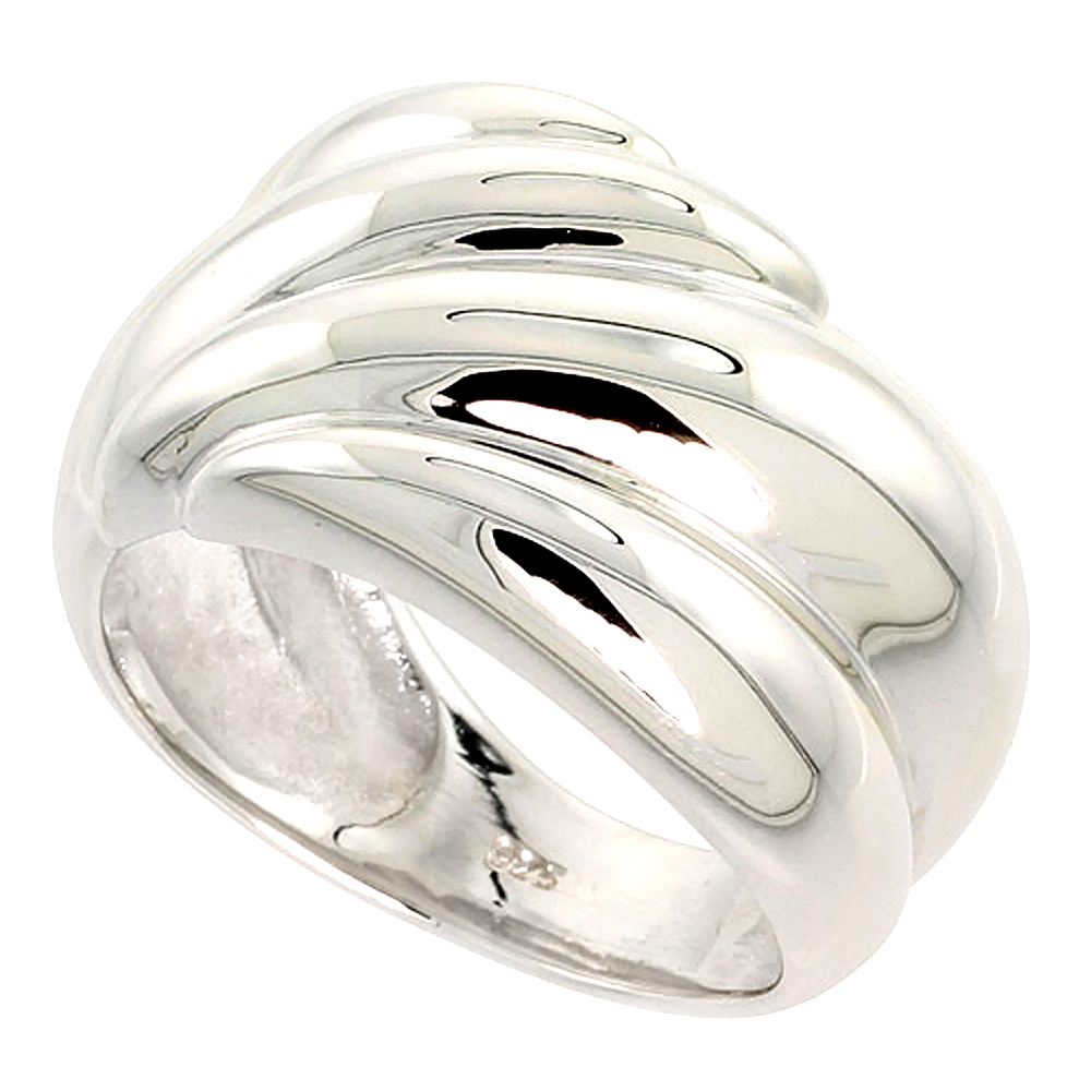 Sterling Silver Ridged Dome Ring Flawless finish 5/8 inch wide, sizes 6 - 10