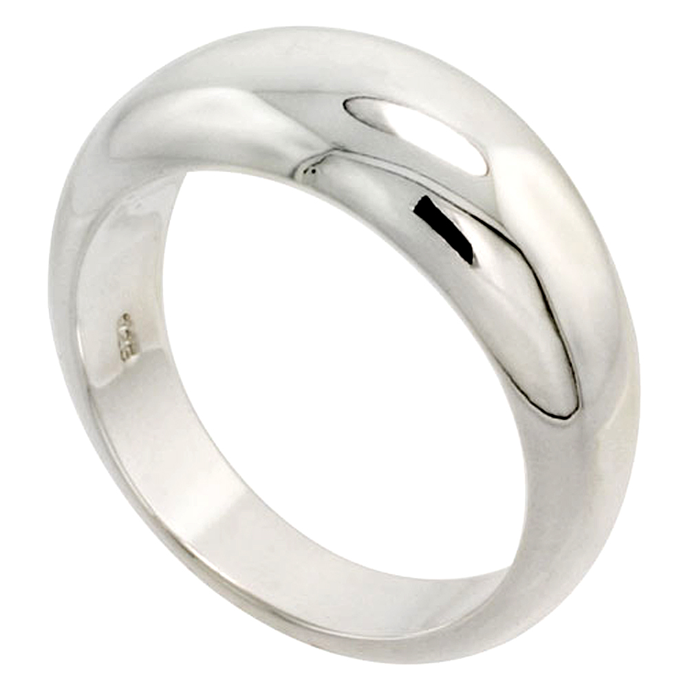 Sterling Silver Low Dome Cigar Band Ring Flawless finish 3/8 inch wide, sizes 6 - 10