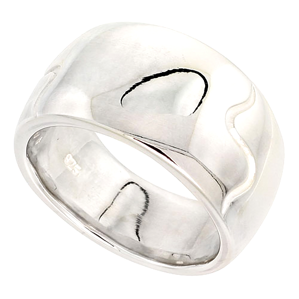 Sterling Silver Low Dome Cigar Band Ring Flawless finish 1/2 inch wide, sizes 6 - 10