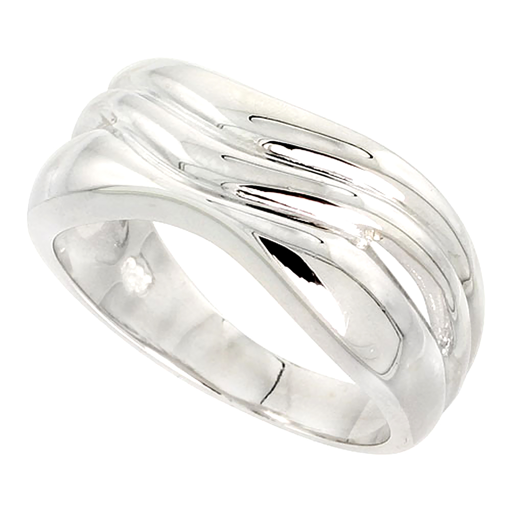 Sterling Silver Wavy Band Ring Flawless finish 3/8 inch wide, sizes 6 - 10