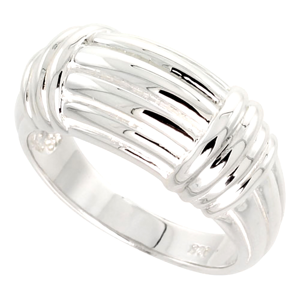Sterling Silver Ridged Dome Ring Flawless finish 1/2 inch wide, sizes 6 - 10