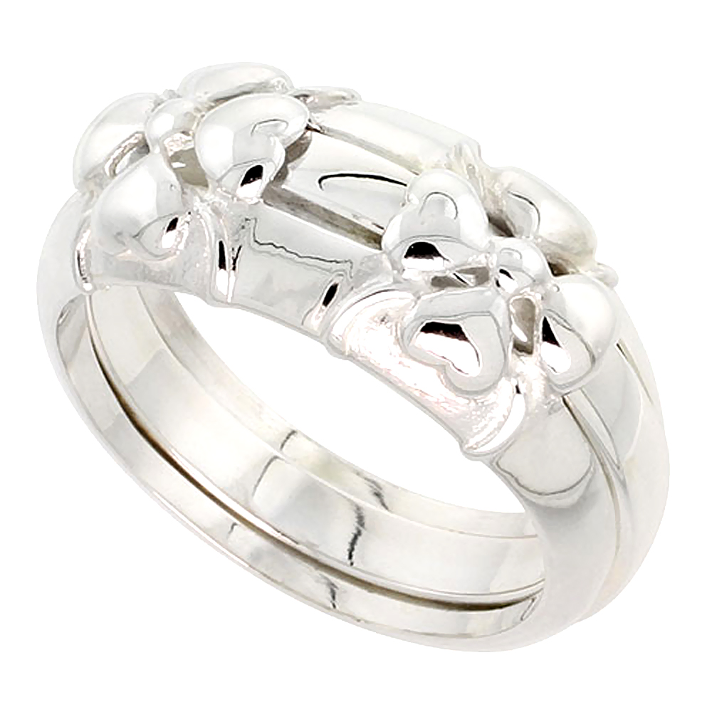 Sterling Silver Heart Petal Flower Ring Guard Flawless finish 3/8 inch wide, sizes 6 - 10