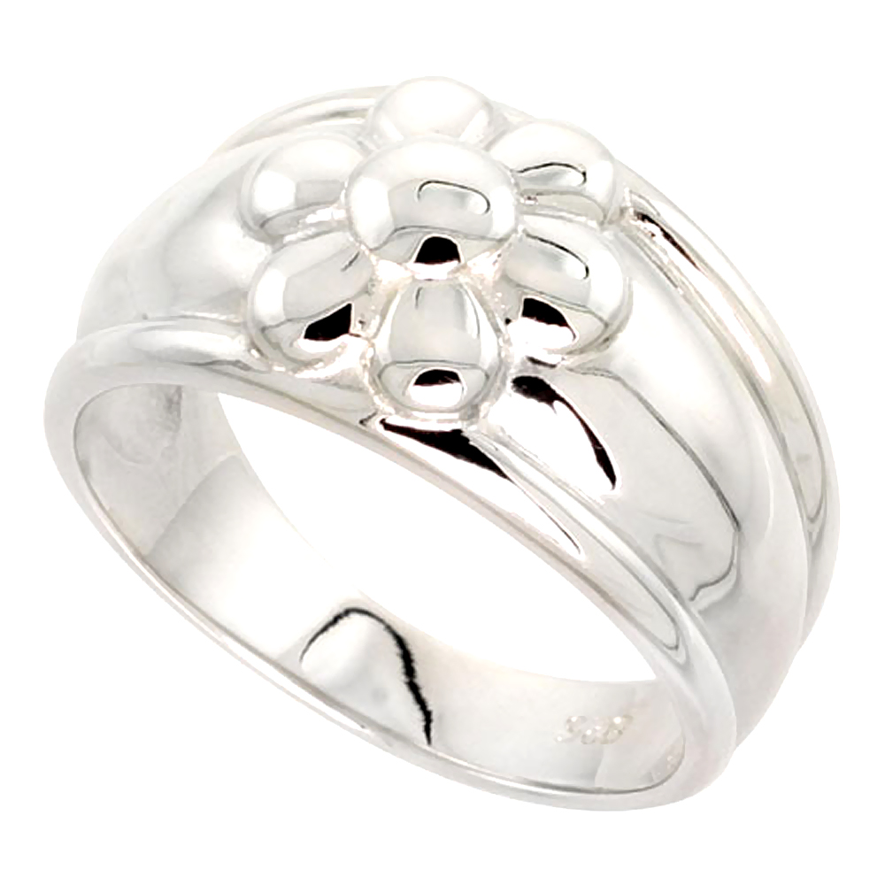 Sterling Silver 6 Petal Flower Cigar Band Ring Flawless finish 1/2 inch wide, sizes 6 - 10