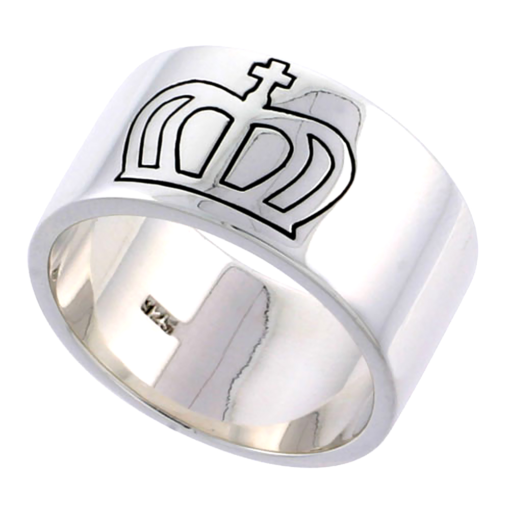 Gents Sterling Silver Cross and Crown Ring Solid back Flawless Finish 1/2 inch wide, sizes 9 to 14