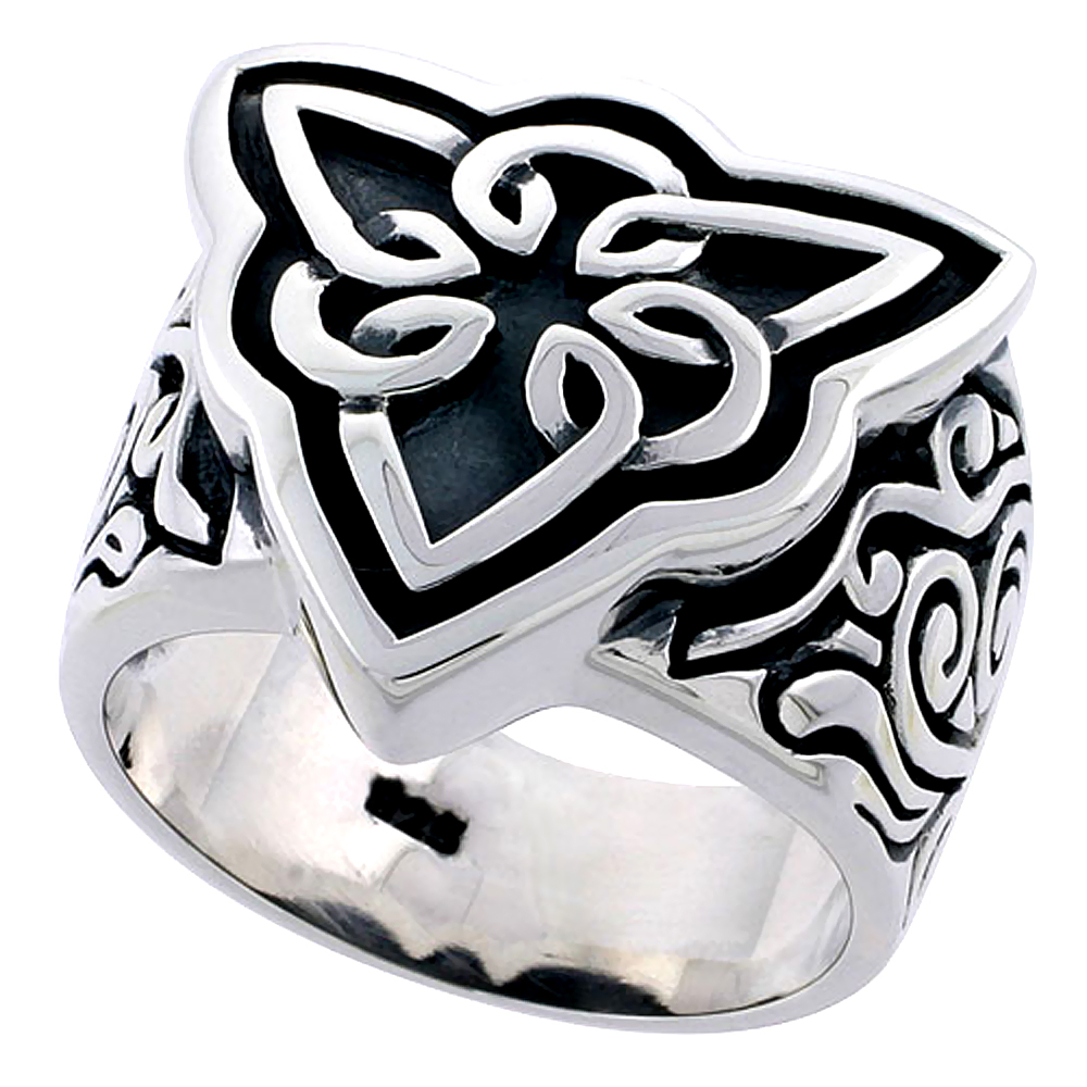 Gents Sterling Silver Celtic Triquetra Knot Ring Flawless Finish 3/4 inch wide, sizes 9 - 14