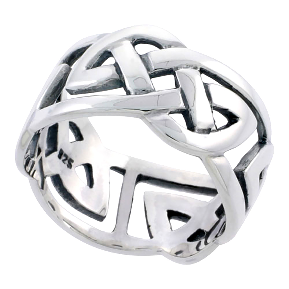 Gents Sterling Silver Celtic Knot Wedding Band Ring Flawless Finish 1/2 inch wide, sizes 9 to 14