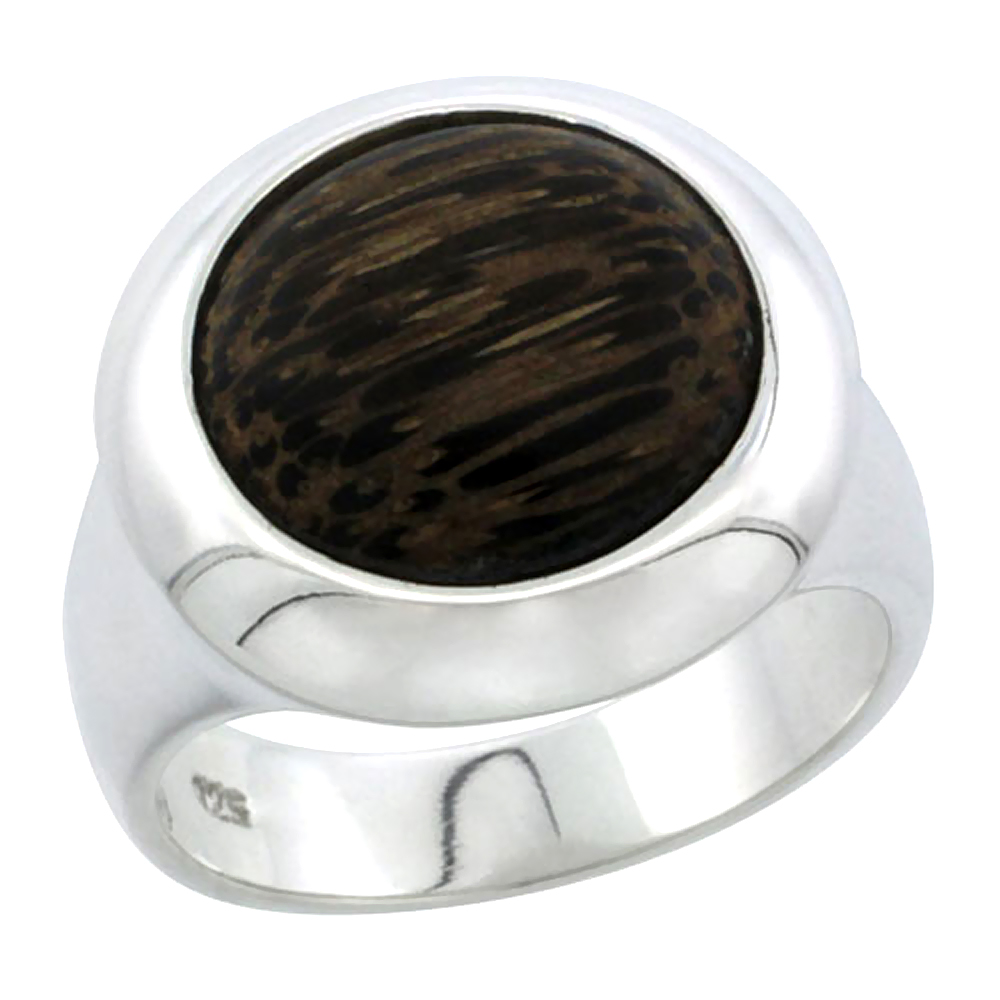 "Sterling Silver Round-shaped Ring, w/ Ancient Wood Inlay, 13/16"" (21 mm) wide"