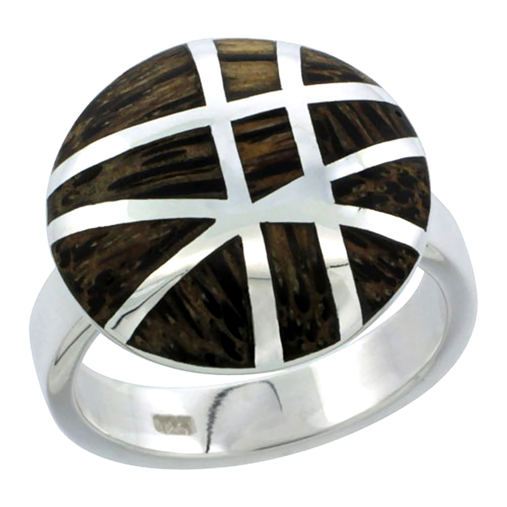 "Sterling Silver Gashed Round Ring, w/ Ancient Wood Inlay, 13/16"" (21 mm) wide"