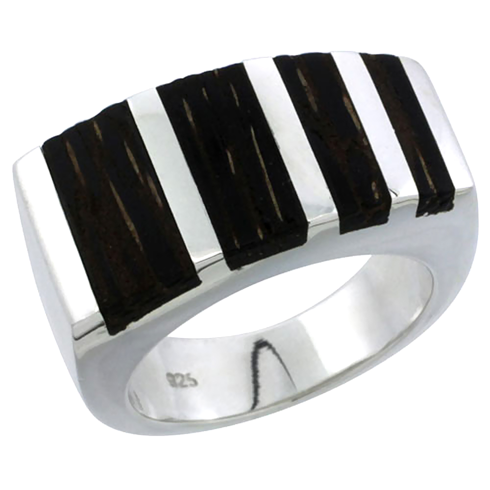 "Sterling Silver Striped Rectangular Ring, w/ Ancient Wood Inlay, 9/16"" (14 mm) wide"