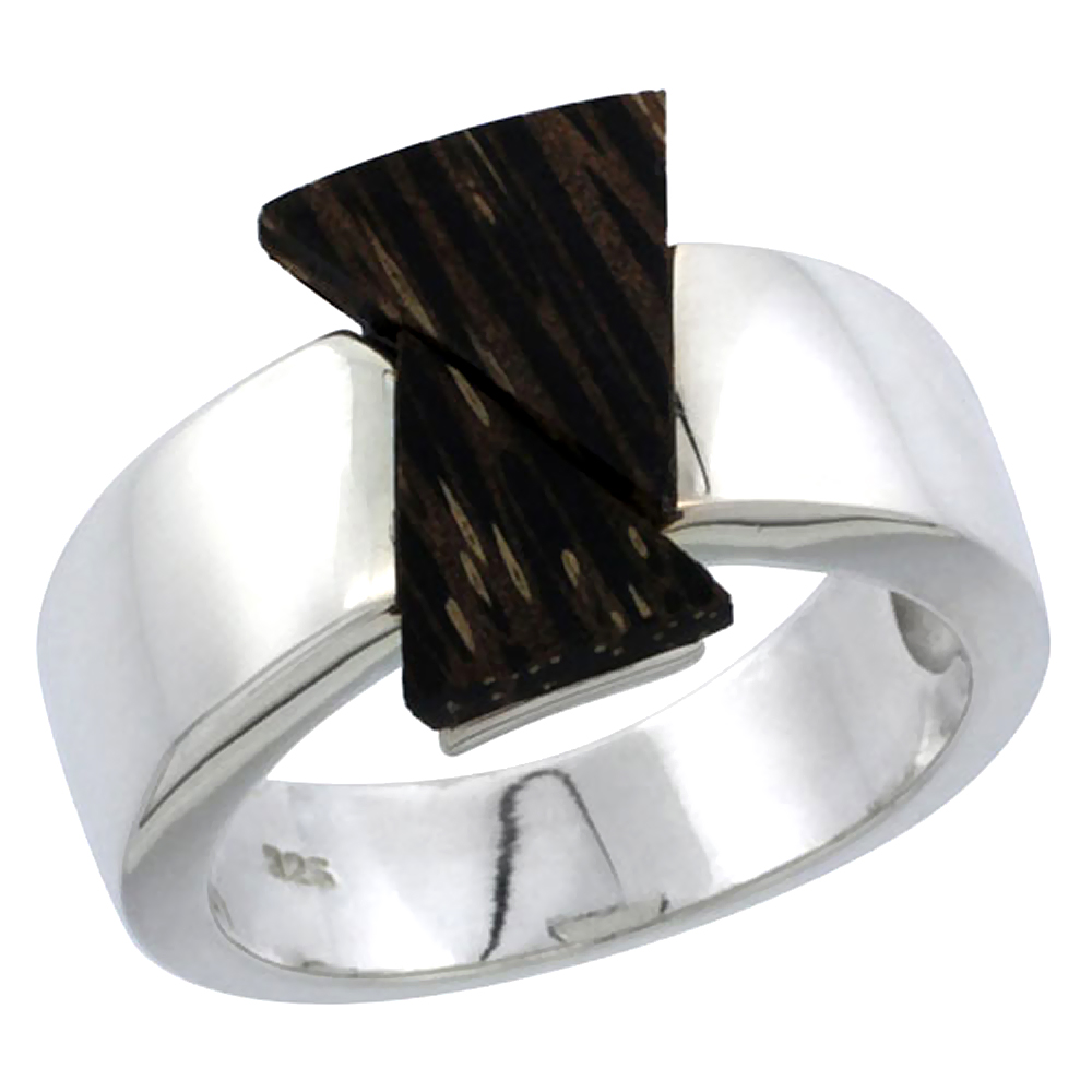"Sterling Silver Double Triangle Ring, w/ Ancient Wood Inlay, 5/8"" (16 mm) wide"